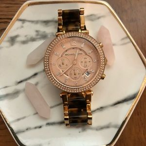 Michael Kors rose gold/tortoise watch